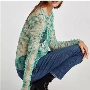 🏷Zara Green Floral Long Sleeve Mesh Top